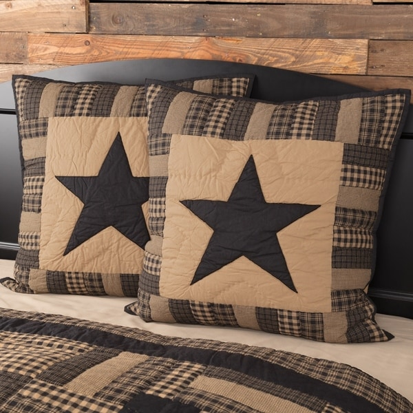 VHC Raven Black Primitive Bedding Check Star Quilted Euro Sham