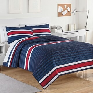 IZOD University Stripe Blue/Red Quilt Set