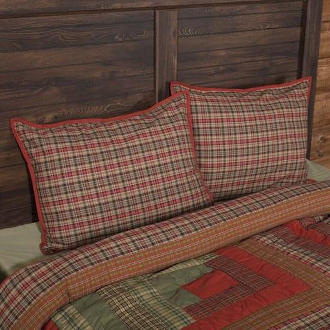 Red Rustic Bedding VHC Gatlinburg Sham Cotton Plaid
