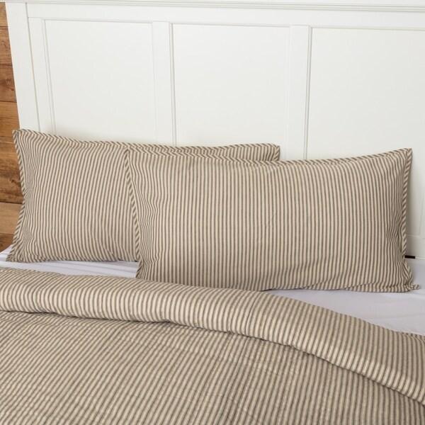 Farmhouse Bedding VHC Sawyer Mill Ticking Stripe Sham Cotton Patchwork Chambray