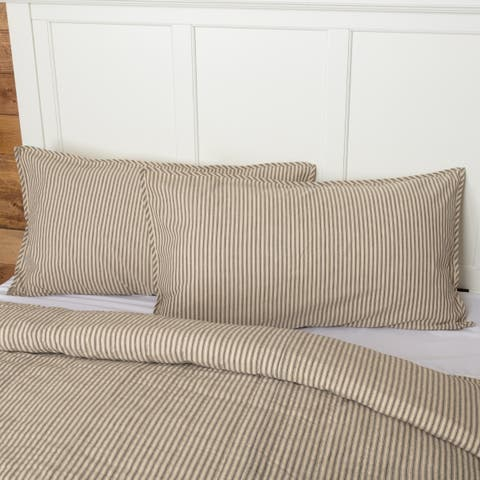 Farmhouse Bedding VHC Sawyer Mill Ticking Stripe Sham Cotton Patchwork Chambray