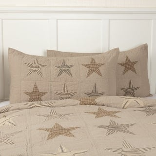VHC Khaki Tan Farmhouse Americana Bedding Sawyer Mill Star Independence Day/4th of July Sham