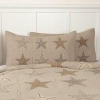 Tan Farmhouse Bedding VHC Sawyer Mill Star Sham Cotton Star Patchwork Chambray