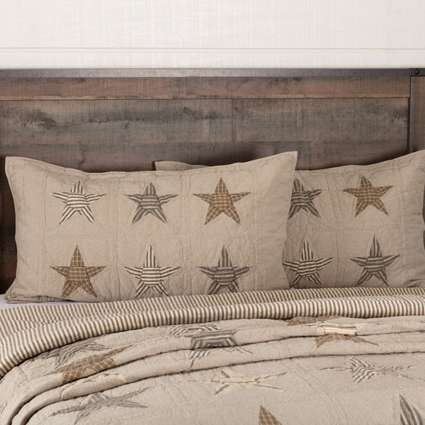 VHC Khaki Tan Farmhouse Americana Bedding Sawyer Mill Star Independence Day/4th of July Sham