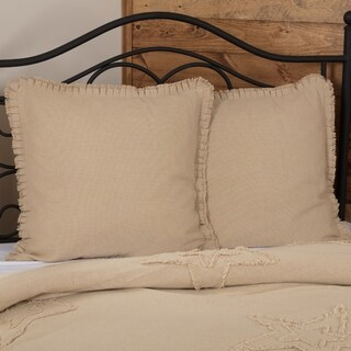 VHC Antique Creme White Farmhouse French Country Bedding Burlap Vintage Fringed Ruffle Solid Euro Sham