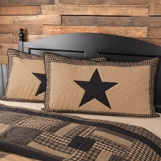 Black Primitive Bedding VHC Black Check Star Sham Cotton Star Appliqued