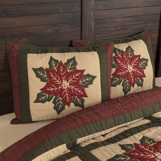 VHC Khaki Tan Holiday Bedding National Quilt Museum Poinsettia Block Sham