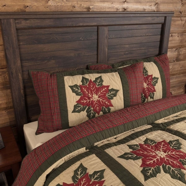 VHC Khaki Tan Holiday Bedding National Quilt Museum Poinsettia Block Sham