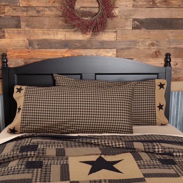 Black Primitive Bedding VHC Black Check Star Pillow Case Set of 2 Cotton Star Appliqued