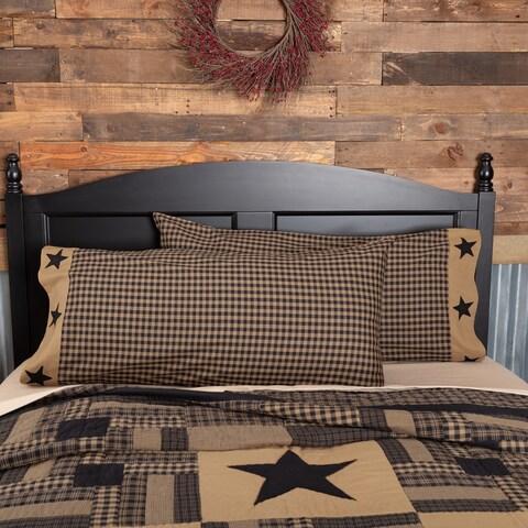 VHC Raven Black Primitive Bedding Check Star Pillow Case Set of 2