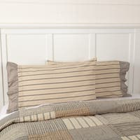 VHC Dark Creme White Farmhouse Country Bedding Sawyer Mill Striped Pillow Case Set of 2