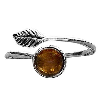 Recycled Vintage Amber Bleach Jug Sterling Silver Botanical Leaf Ring
