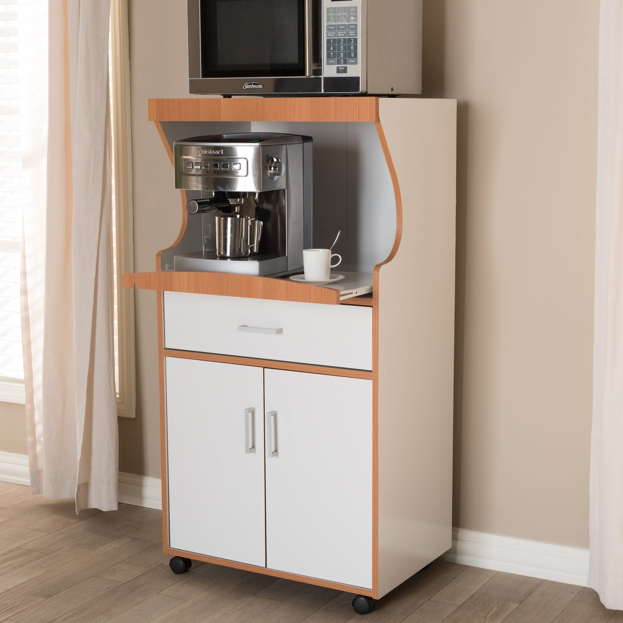 Contemporary White And Brown Kitchen Cabinet By Baxton Studio