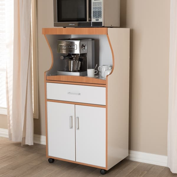 Shop Contemporary White and Brown Kitchen Cabinet by Baxton ...
