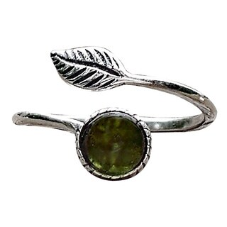 Recycled Early 1900's Olive Wine Bottle Sterling Silver Botanical Leaf Ring