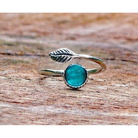 Recycled Vintage Mason Jar Sterling Silver Botanical Leaf Ring