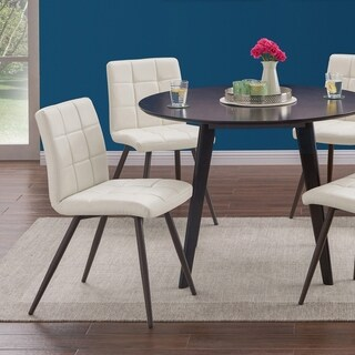 Handy Living Manzanola Almond Faux Leather Armless Upholstered Dining Chairs (Set of 4)