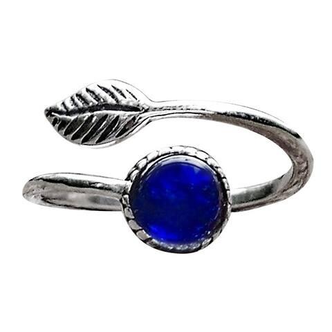 Recycled Vintage 1960's Cobalt Skin Cream Jar Sterling Silver Botanical Leaf Ring