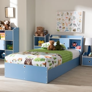 Contemporary Blue and White Twin Size Bed by Baxton Studio