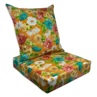 Sherry Kline Alcove Orange Outdoor Deepseat and Backseat Replacement Cushions - 23x22x7/23x22x5