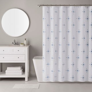 IZOD Compass Blue Shower Curtain with 12 Piece Metal Roller Hook Set