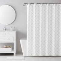 IZOD Pindot Grey Shower Curtain with 12 Piece Metal Roller Hook Set