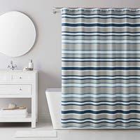 IZOD Bradley Stripe Grey/Blue Shower Curtain with 12 Piece Metal Roller Hook Set
