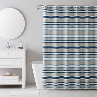 IZOD Bradley Stripe Grey/Blue Shower Curtain with 12 Piece Metal Roller Hook Set