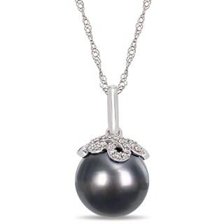 Miadora 14k White Gold Black Tahitian Cultured Pearl Diamond Drop Necklace (10-11mm)