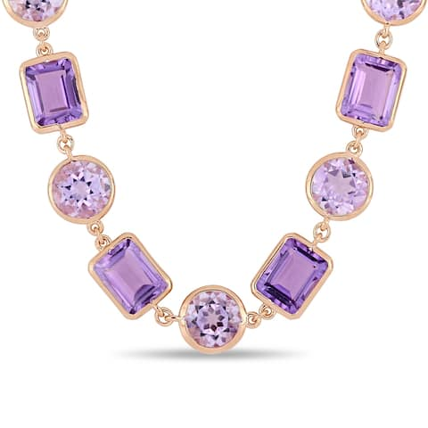 Miadora Rose Plated Sterling Silver Rose de France and Amethyst Link Necklace