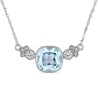 Miadora 10k White Gold Sky Blue Topaz Created White Sapphire and Diamond Station Necklace