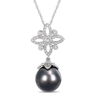 Miadora 14k White Gold Black Tahitian Pearl 1/4ct TDW Diamond Floral Drop Necklace (11-12mm)