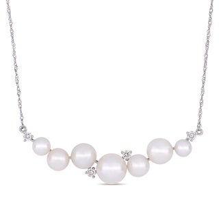 Miadora 10k White Gold Cultured Freshwater Pearl and 1/5ct TDW Diamond Pearl Journey Necklace (4.5-8mm)