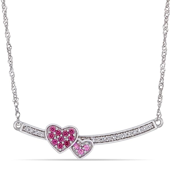 d4525c948 Miadora 14k White Gold Ruby Pink Sapphire and Diamond Double Heart Bar  Necklace