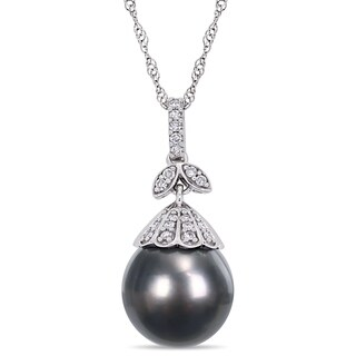Miadora 14k White Gold Black Tahitian Cultured Pearl 1/10ct TDW Diamond Pearl Drop Necklace (10-11mm)