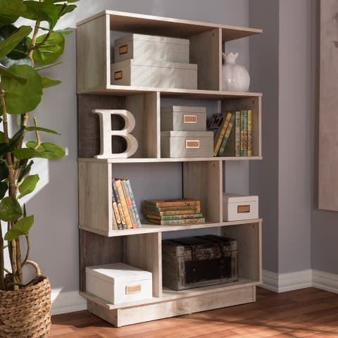 Contemporary Oak Brown Display Bookcase by Baxton Studio