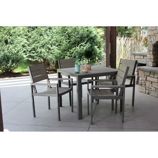 5pc Grey Aluminum and Grey Wood Dining Set