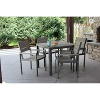 5pc Grey Aluminum and Grey Wood Dining Set