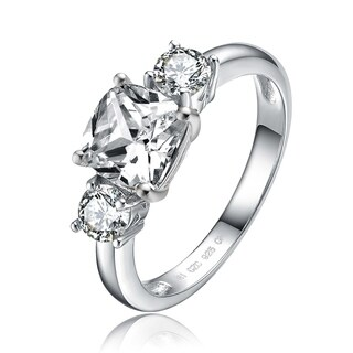 Collette Z Silver Plated 3-Stone Clear Cubic Zirconia Ring