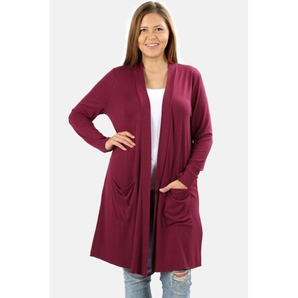 JED Women's Plus Size Soft Knit Long Sleeve Cardigan