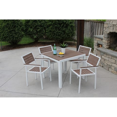 5pc White Aluminum and Brown Wicker Dining Set