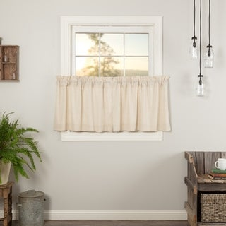 VHC Farmhouse French Country Curtains Simple Life Flax Solid Tier Pair