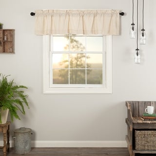 Farmhouse Kitchen Curtains VHC Simple Life Flax Valance Rod Pocket Cotton Linen Blend Solid Color Flax