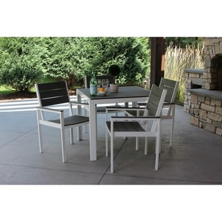 5pc White Aluminum and Gray Wood Dining Set