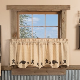 VHC Dark Creme Tan Primitive Country Curtains Kettle Grove Crow and Star Appliqued Tier Pair