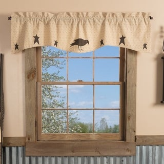 VHC Dark Creme Tan Primitive Country Curtains Kettle Grove Crow and Star Appliqued Valance
