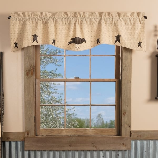 Tan Primitive Kitchen Curtains VHC Kettle Grove Crow and Star Valance Rod  Pocket Cotton Star Appliqued - Valance 16x60