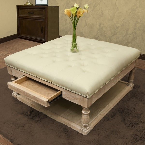 Shop Suleiman Tufted Padded Cocktail Ottoman With Shelf