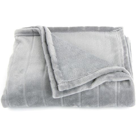 Cheer Collection Flannel Throw Blanket with Striped Design