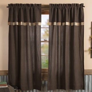VHC Country Black Primitive Curtains Kettle Grove Block Border Plaid Short Panel with Valance Pair